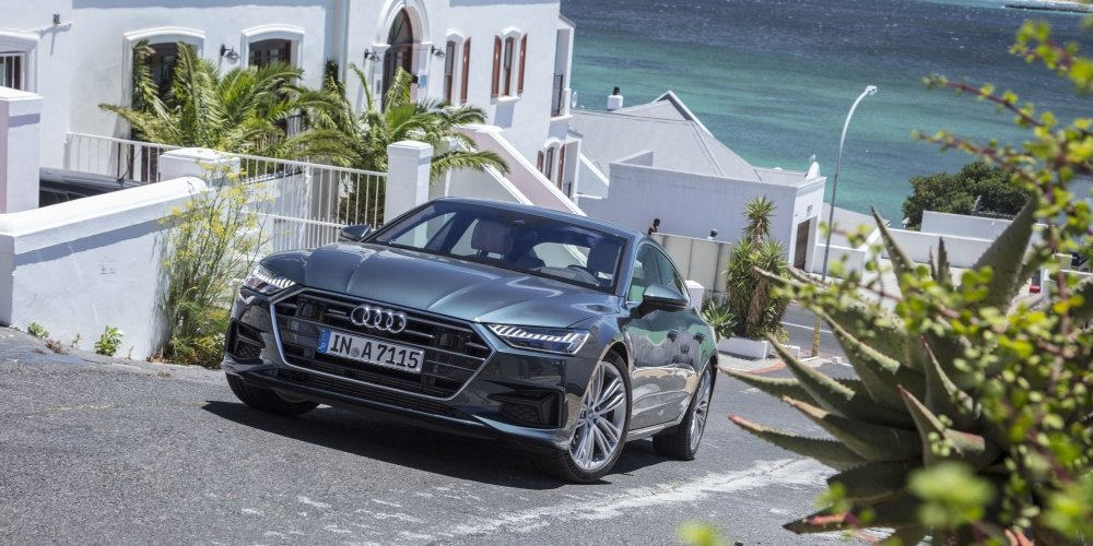Audi A7 Sportback on a hill overlooking the sea