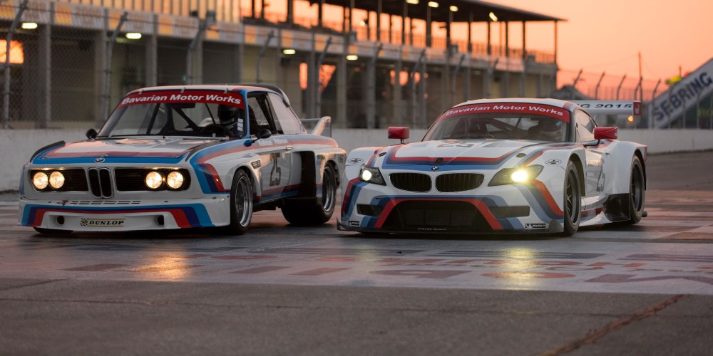 BMW Z4 GTLM vs. 1975 BMW 3.0 CSL. Photo by: BMW Group