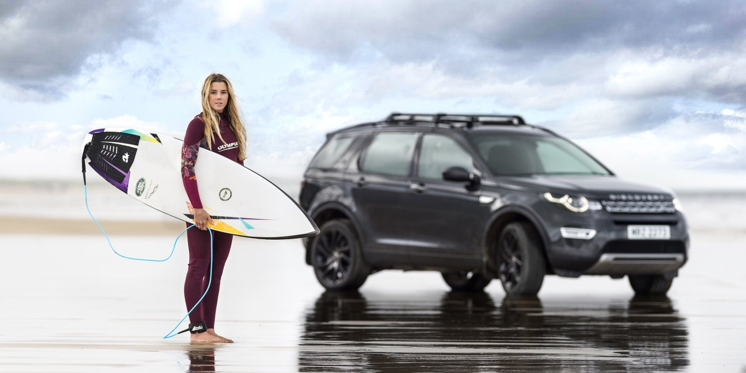 A Surfboard made from recycled plastic. Photo by: Jaguar Land Rover